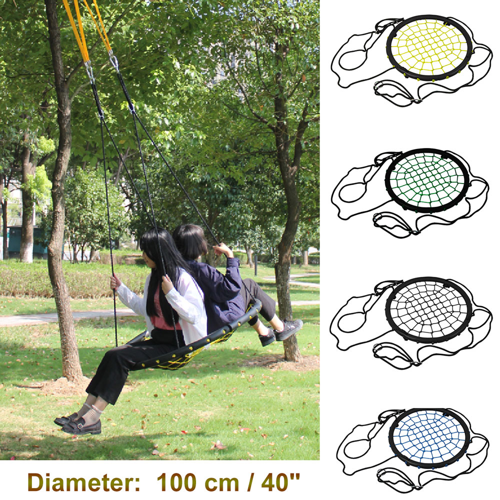 440lbs 40 Disc Giant Nest Web Net Tree Swing Rope Hanging Swing Heavy Duty For Garden Backyard Outdoor For Kids Children Adult garden swing for children baby inflatable hammock hanging swing chair kids indoor outdoor pod swing seat sets c036 free shipping