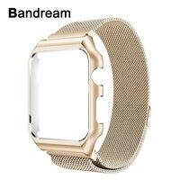 Milanese Boucle Bande + Boîtier Métallique pour Apple iWatch Montre 38mm 42mm Magnétique Bracelet En Acier Inoxydable Cadre Sangle poignet Bracelet