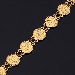 Image 4 - U7アッラージュエリーイスラム教徒のネックレスセット高品質ゴールド色トレンディ宗教イスラムコインネックレスイヤリングジュエリーセットs464