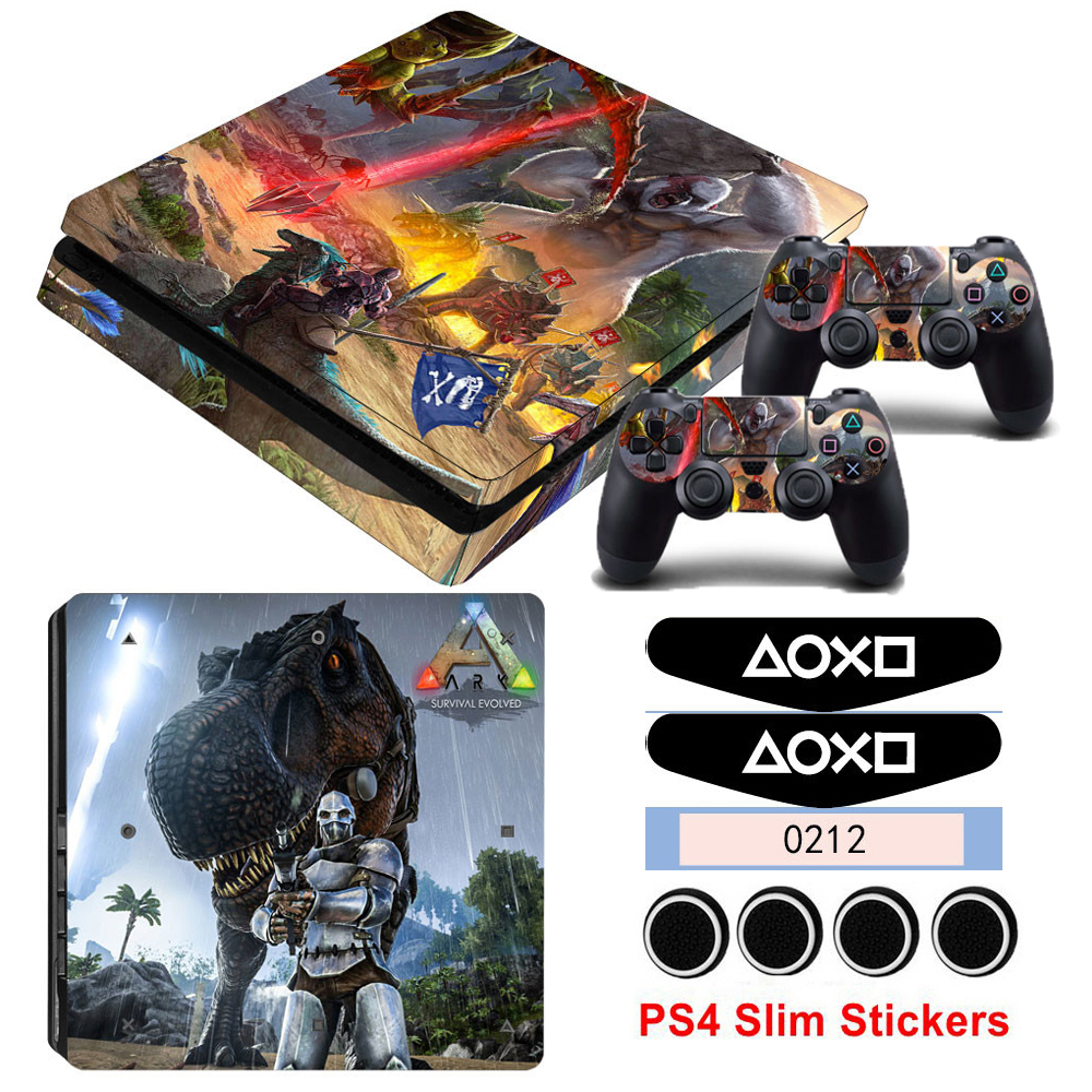 Vinyl ARK Survival Evolved Cover Skin Stickers For Playstation 4 Slim PS4 Slim Console Protect For PS4 Controllers Game Decals