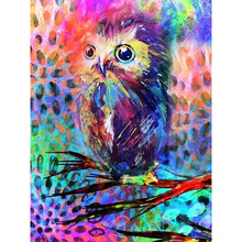 Full square/Round Diamond Painting Cross Stitch colorful owl Rhinestone Crystal Needlework Embroidery Decorative gift