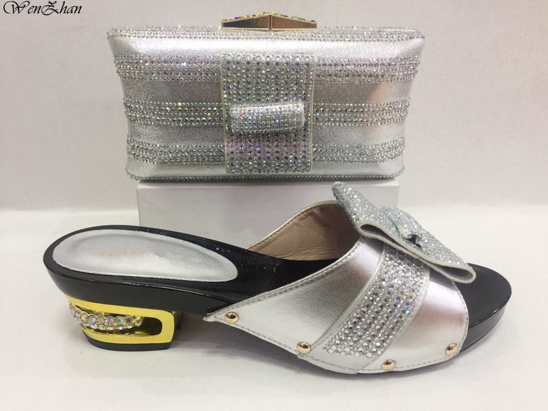 WENZHAN African Crystal Shoes And Matching Bag Set For Party Fashion Sliver Women Pumps Slipper Shoes And Bags Set 37-43 C85-11 hot artist african style slipper shoes and matching bag set fashion rhinestone ladies pumps shoes and bag set for party me7708