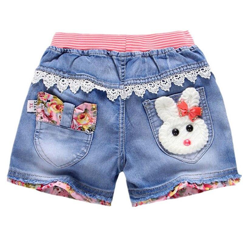 Girls Denim Shorts New Kids Summer Shorts Girls Jeans Lovely Cartoon Rabbit Printed Flowers Embroidery Jean Short Girls Clothing