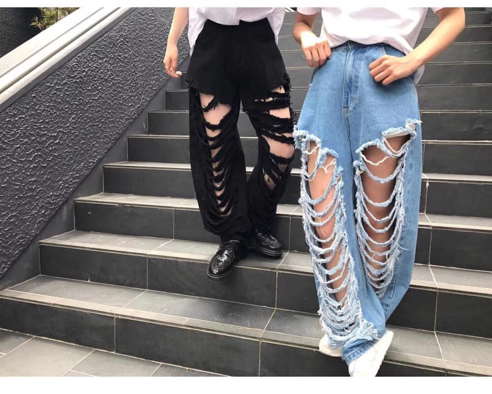 Newspring and summer European women's 18 fashionable tone do old hole water washing Big long legs high waist jeans