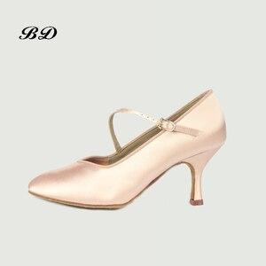 Image 2 - 소녀 운동화 댄스 신발 볼룸 여성 라틴 신발 현대 재즈 수입 새틴 내마 모성 단독 BD 138 편안한 샤인