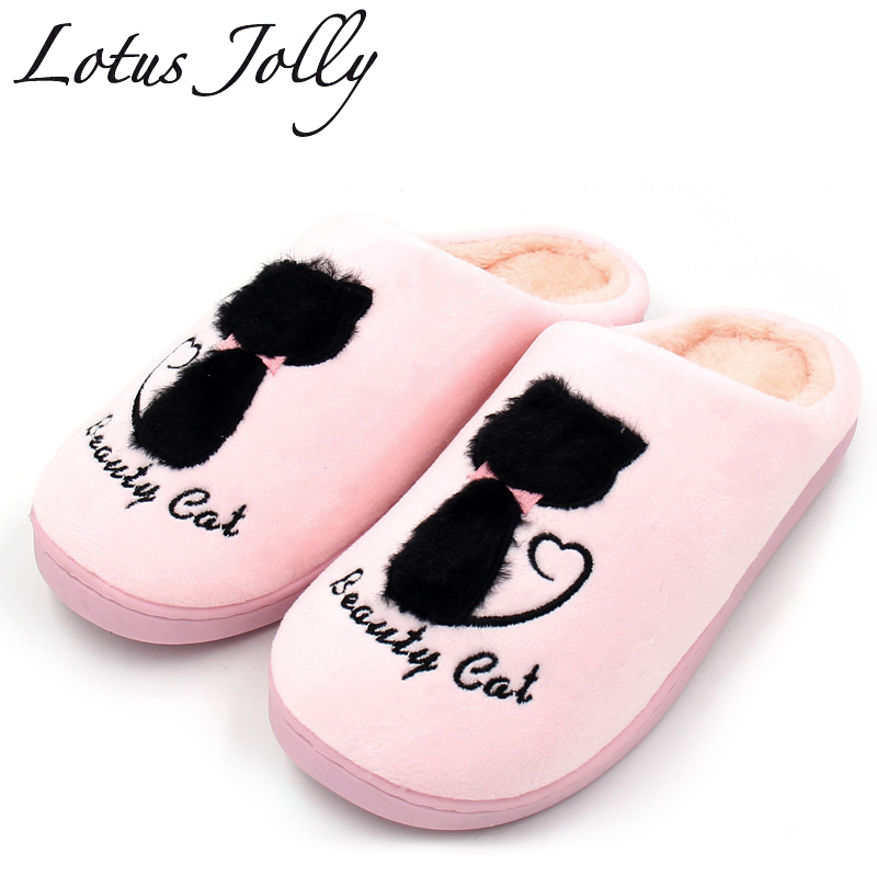 Home Slippers Soft Plush Cotton Cute Slippers Shoes Non slip Floor Indoor House Home Fur Slippers