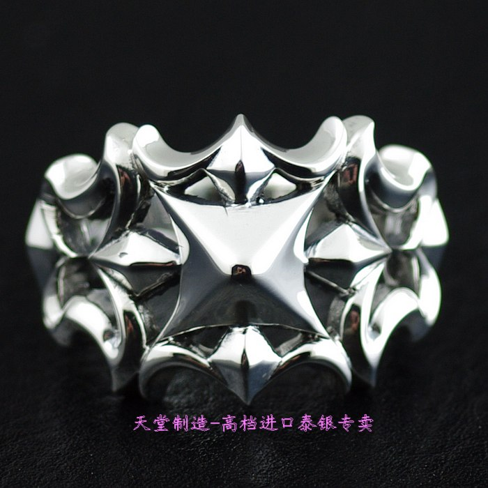 925 pure silver cutout cross thai silver ring цена