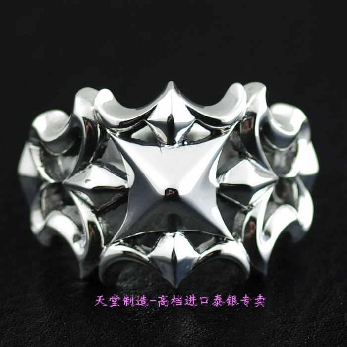 925 Чистое серебряное кольцо с вырезом крест тайское серебряное кольцо