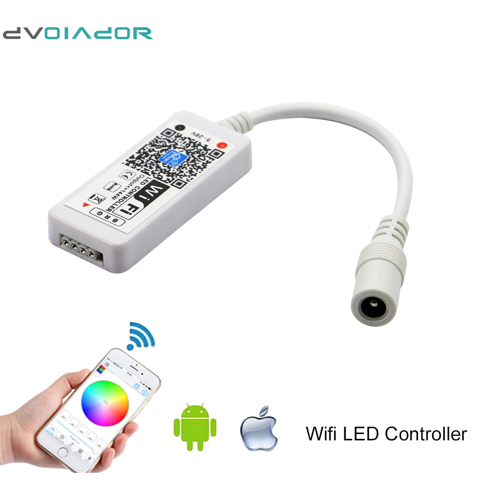 DVOLADOR WIFI Wireless LED Smart Controller Working with Android and IOS System Mobile Phone App for 5050 3528 RGB LED Strip Lig mini wifi 01 smart wireless 3 ch wi fi ios android phone controlled rgb light strip controller