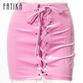 FATIKA Vintage Pencil Lace Up Velvet Pink Skirts Women Spring Summer Criss Cross Short Bodycon Mini Sexy Skirt Brand-clothing