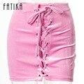 Fatika vintage lápiz de encaje de terciopelo rosa faldas mujer primavera verano criss cross corto bodycon mini falda sexy de la marca-ropa