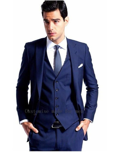 2015 Blue Men Business Suits Wedding Tuxedos Men Suits High ...