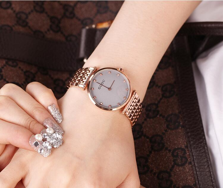 2017 Guou marca de lujo moda Reloj de acero oro rosa chica relojes mujeres cuarzo vestido Reloj Mujer