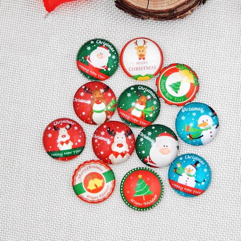 20 Stücke Schönheit Mode Frohe Weihnachten Foto Glas Cabochon 14mm/18mm/20mm/25mm Runde Demo Flache Rückseite Diy Erkenntnisse Weihnachten Geschenk Schmuckzubehör & Komponenten
