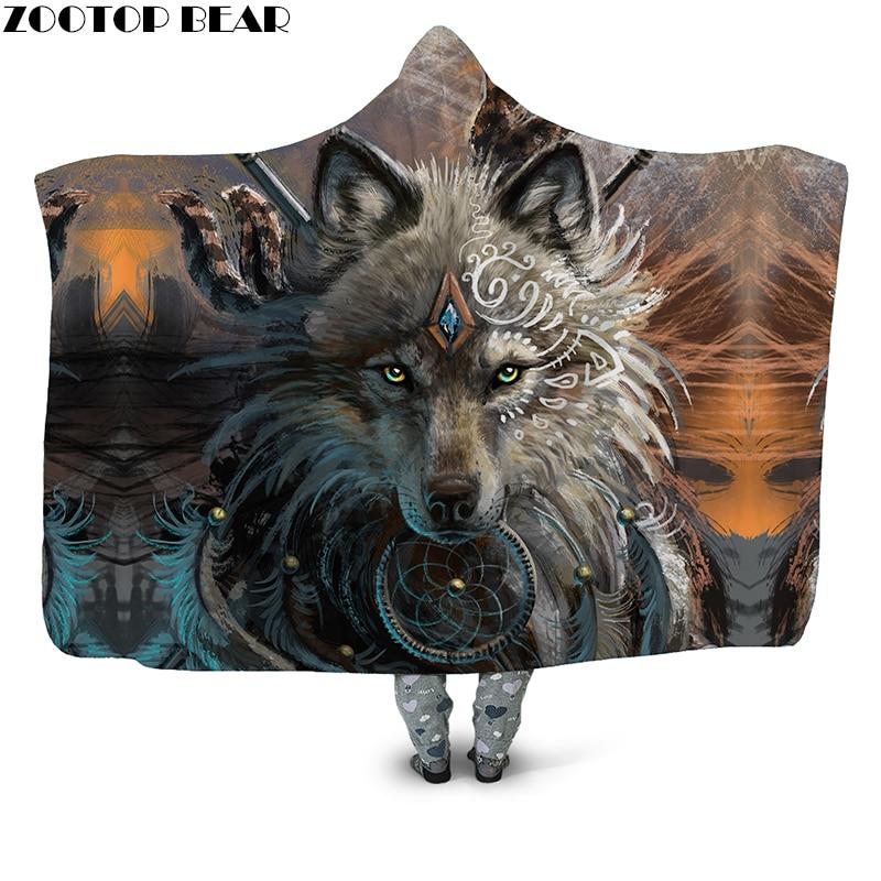 Lobo Guerreiro 3D Impresso Com Capuz de Pelúcia Cobertor para Adultos e Jovens Crianças Wearable Quente Fleece Throw Blanket Home Office Lavável