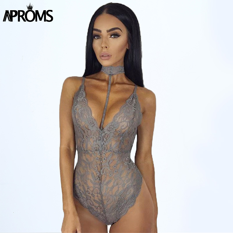 Autumn Gray Lace Halter Choker Bodysuit Womens 2017 See Through Summer Mesh Hollow Bodycon Rompers Jumpsuits