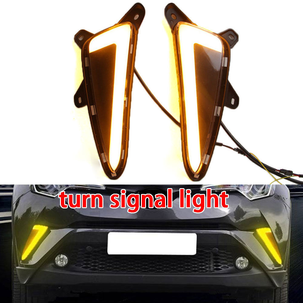 Car Daytime DRL Lamp 2pcs Front Yellow White LED Driving Running Day Light For Toyota CHR C-HR 2016-2018 Auto Car Accessories qvvcev 2pcs new car led fog lamps 60w 9005 hb3 auto foglight drl headlight daytime running light lamp bulb pure white dc12v
