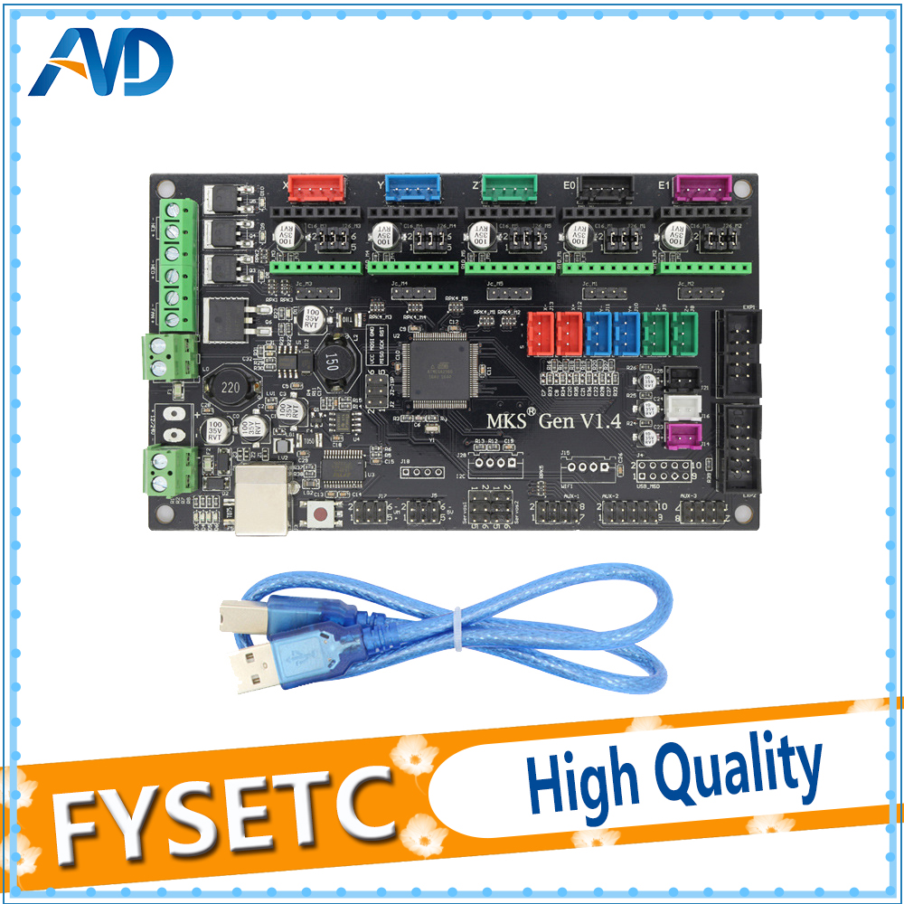 4 layers PCB controller board MKS Gen V1.4 integrated mainboard compatible Ramps1.4/Mega2560 R3 support a4988/DRV8825/TMC2100 mks gen l v1 0 integrated mainboard mks gen l v1 0 compatible ramps1 4 mega2560 r3 with 5pcs tmc2100 v1 3 stepper drivers