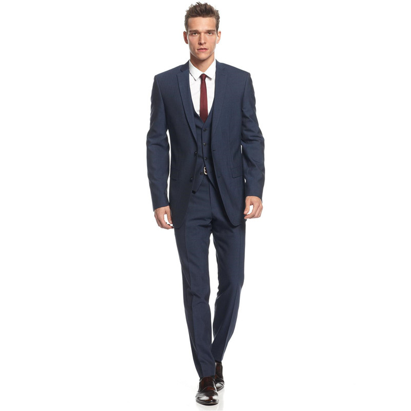 Midnight Blue Slim Fit Suits for Grooms 2016 Top Quality Handmade Wedding Suits Design for Men Three Pieces (Jacket+Pants+Vest)