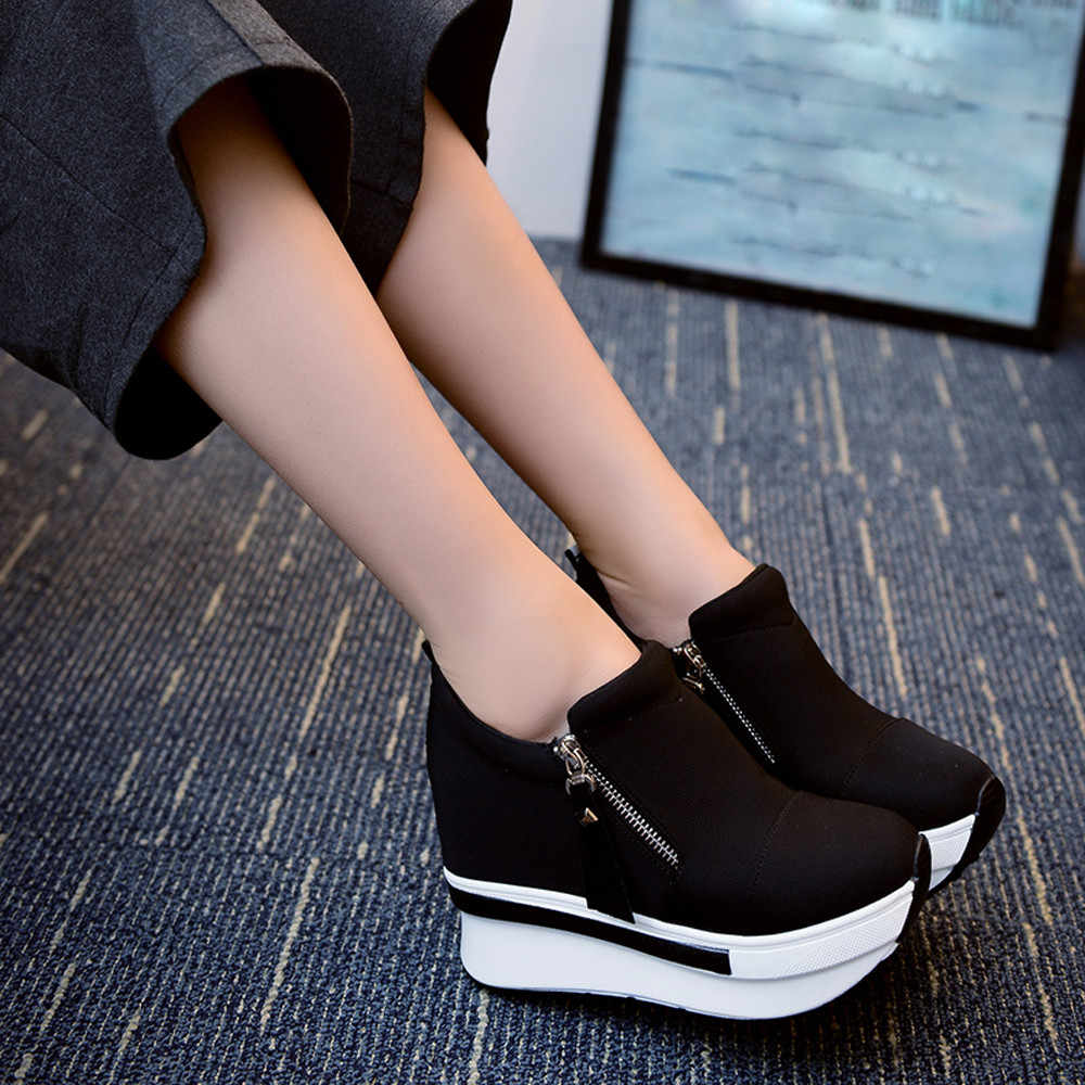 Cunhas botas femininas 2019 sapatos de plataforma mulher creepers deslizamento em botas de tornozelo apartamentos sapatos femininos senhoras moda casual mais tamanho