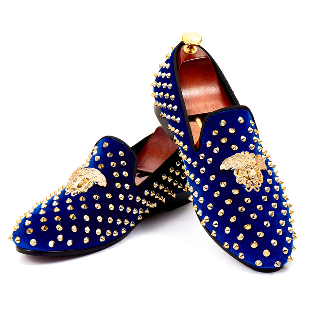 Hot Selling Blue Rivets Dress Shoes Handmade Studs Men Wedding Shoes Velvet  Loafers Red Bottom Sole