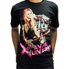 Rock rollman Avril Lavigne T Shirt Band H395 Mens High Quality Printed Tops Tees Black Short Sleeve Tshirts