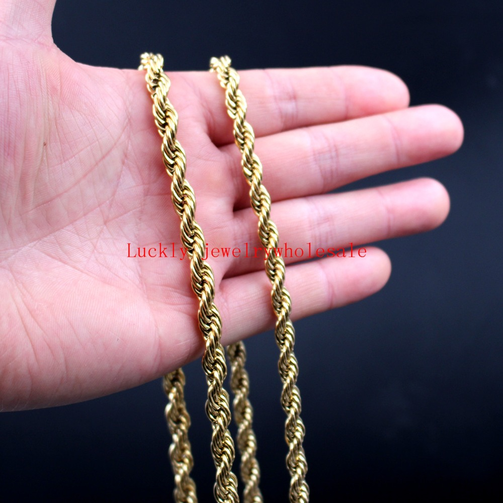 24 inch Huge 6mm/ 7mm Gold Stainless Steel Twisted