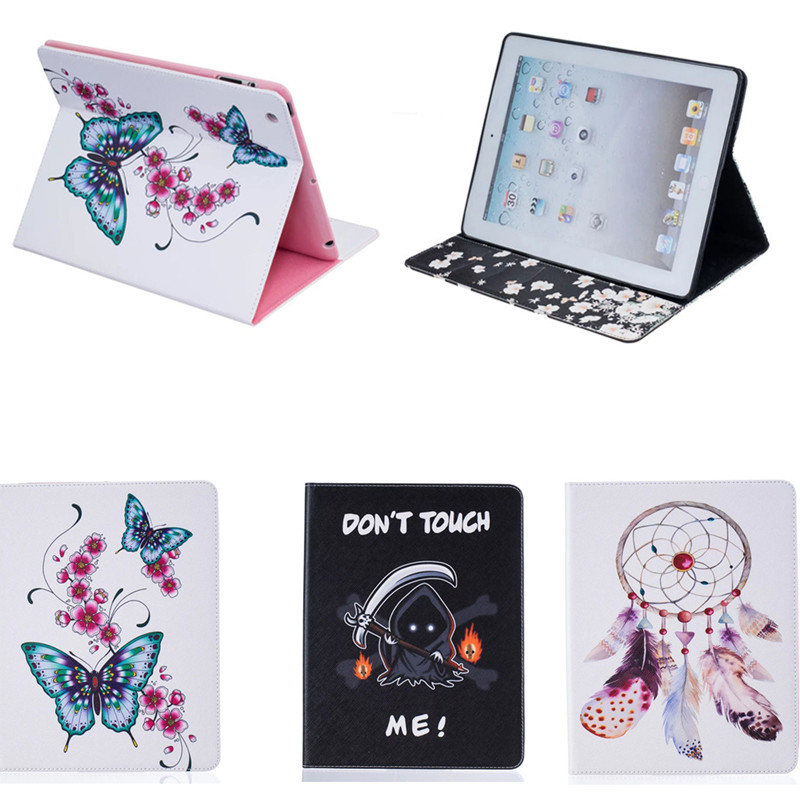BF Luxury Protective Cover For iPad 2 3 4 Butterfly Stand Cute PU Leather Tablet Protector Case For iPad2 ipad3 ipad4 9.7inch