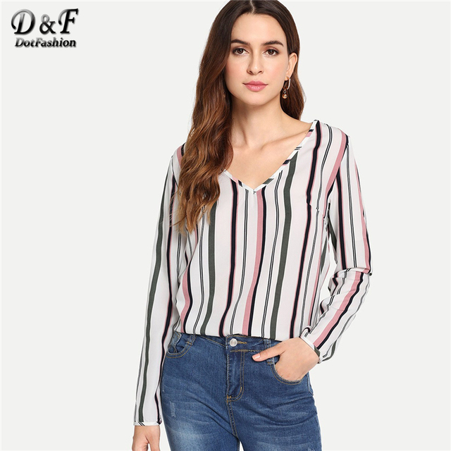 63ecd2bc54f Dotfashion V Neck Striped Print Womens Tops And Blouses 2019 Autumn  Clothing Fashion Woman Casual Long Sleeve Pullovers Shirt
