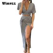 Wimuzz Gestreiften Sexy V-ausschnitt Frauen Bogen Backless Maxi Kleid Lange Zweiteiler Outfits Kleidung Clubabend Party Kleider Vestidos