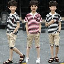 Teenage Boy Clothing Set Summer 2019 New Cotton T-shit Pants 2pcs Glass Print Striped Children Sports Suit