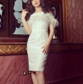 2016 Arabic Style Knee Length Sleeve robe Cocktail Ivory Short Party summer Dress With Feathers vestidos de fiesta