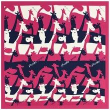 [SUMEIKE] 2017 Ladies Animal Print Scarf Women Small Square Silk Fashion Neck Scarves Female Giraffe Bandana