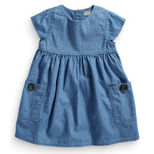 2015 wardrobe essential denim dress with button pocket detail,100% cotton girls dress,next clothing style for kids 2-5 years недорого
