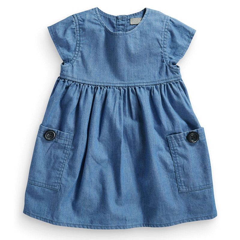 Wardrobe essential denim dress with pockets buttons for Soft cotton dress shirts