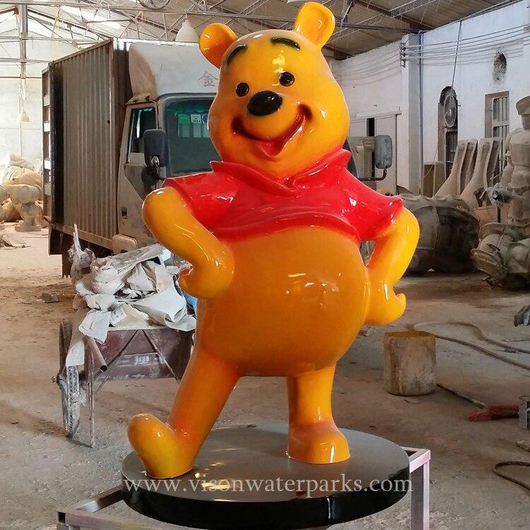 Responsible Customized Strong Resin Fiberglass Cartoon Winnie The Pooh Sculpture Combination For Water Amusement Park Vison Waterparks