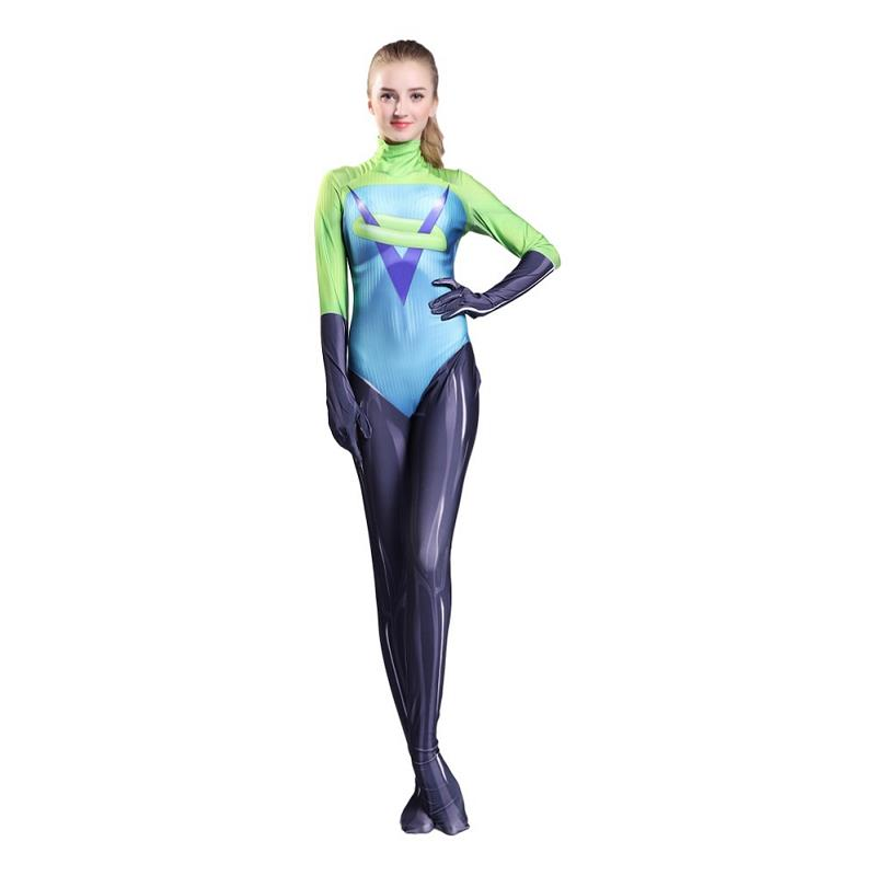 The Incredibles 2 Voyd Cosplay Costume 3D Printed Zentai Suit Women Superhero Lycra Bodysuit Halloween Party Outfit Adult Kids