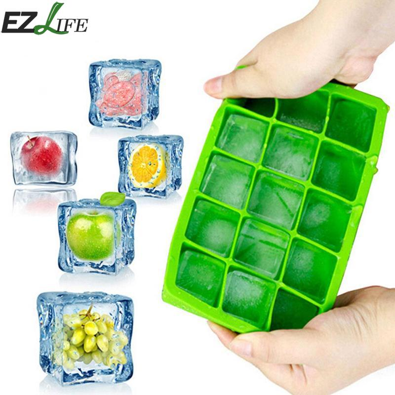 15 Holes Food Grade Silicone Ice Cube Mold Whisky Ice Tray Mould With Lid Square Shape Ice Frozen 15 Ice Cube Mold CFA8229