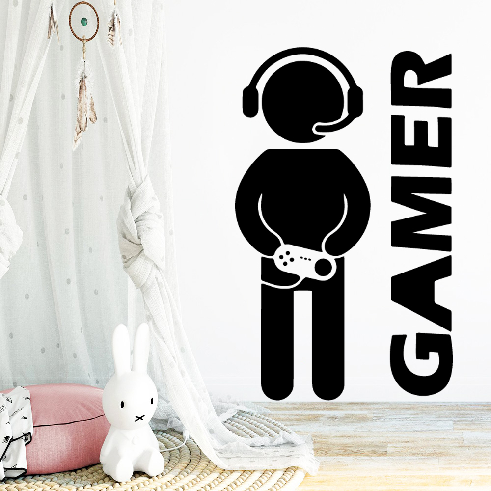Luxuriant Gamer Wall Art Sticker For Kids Room Nature Decor Bedroom Decal Vinyl Mural adesivo de parede
