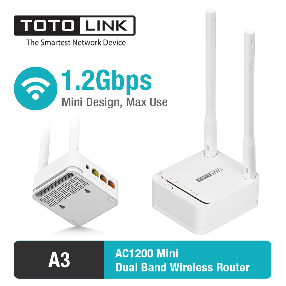 TOTOLINK A3 11AC 1200Mbps WiFi Router with Wireless Repeater and AP in One, and 2 pcs of 5dBi Antennas ...