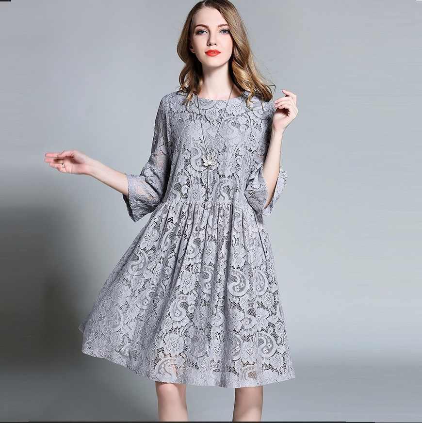 295e22ed4 New 2016 Autumn Women Empire Cute Lace flare Dress Half sleeve ball gown  Dress loose elegant