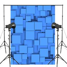5x7ft Abstract 3D Light Blue Photography Backdrop Artistic Cube World Background Art Photo Studio wall