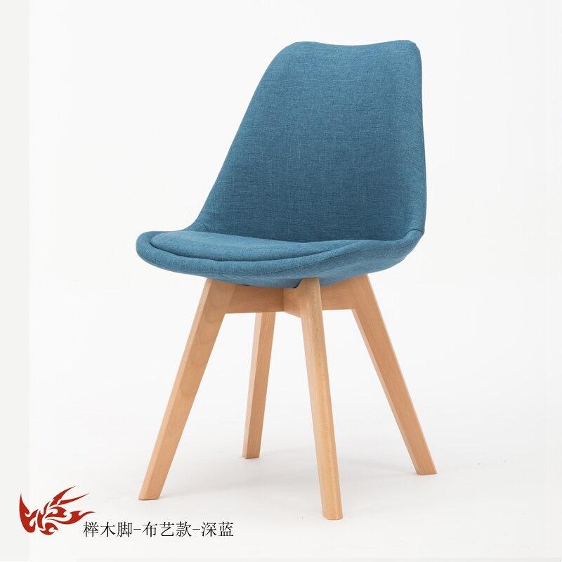 Простой стул Мода нордическая ткань; Массивная древесина обеденный стул кофе отель встречи, чтобы обсудить домашний табурет - Цвет: 16