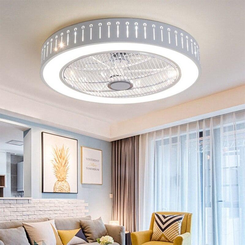 Luces de ventilador de techo modernas para comedor, dormitorio, sala de estar, lámparas de ventilador de control remoto, luces de techo invisibles, iluminación de ventilador, oficina pequeña