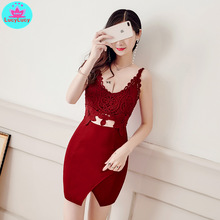 2019 Korean version of the new sexy lace umbilical stitching package hip nightclub bar Slim thin bottoming short dress