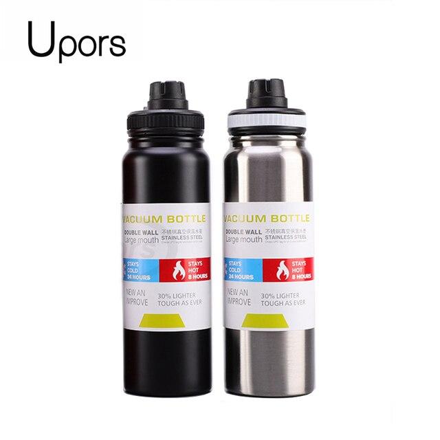 Спортивная бутылка для воды UPORS из нержавеющей стали, 600 мл/800 мл, большая емкость, двойные стенки, вакуумная Изолированная кружка, портативный термос, бутылка