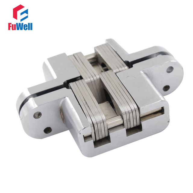 7# Zinc Alloy Hidden Hinges Loading Capacity 50KG Concealed Cross Door Hinge  For 50mm Thickness
