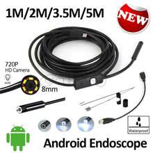 2MP Android OTG USB Endoscope Camera 8mm Lens HD720P 5M 3.5M 2M 1M Waterproof Snake USB OTG Android Phone Borescope Camera 6LED