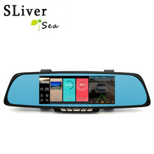 SLIVERYSEA 7″Android Car Camera DVR GPS Dual Lens Rearview Mirror Video Recorder Full HD 1080P Automobile DVR Dash Camera #B1245