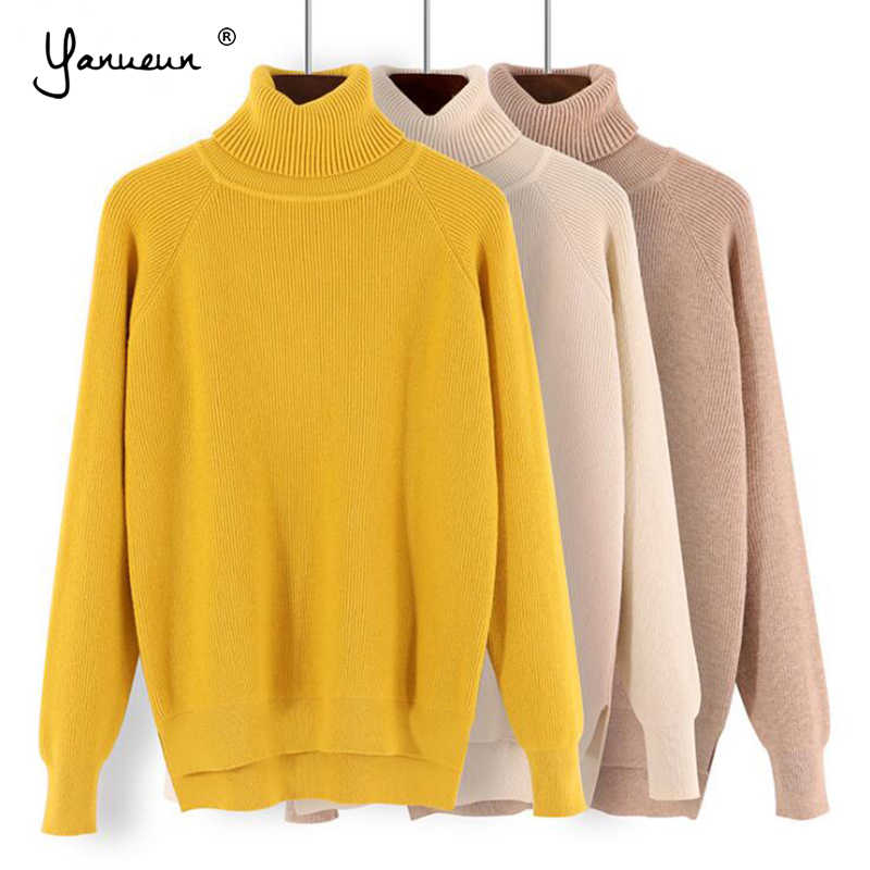 Yanueun Turtleneck Sweaters All Base Match Loose Solid Women Soft Sweater Pullovers Autumn Winter Sweater For Women